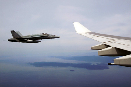 Military jets escorting CX 838